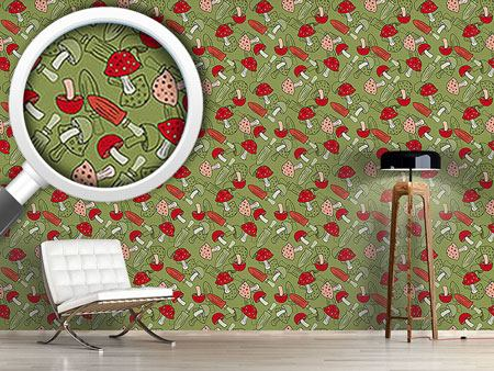 Pattern Wallpaper Mushroom Dream