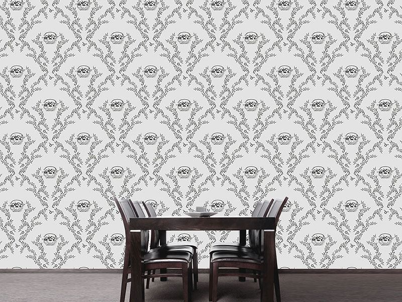 Pattern Wallpaper Emmas Cherries Grey