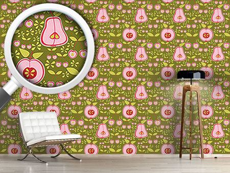 Pattern Wallpaper Fruit Garden Pink