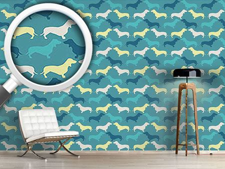 Pattern Wallpaper Dachshund Petrol