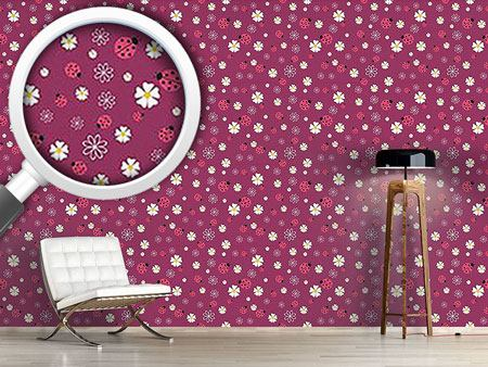 Pattern Wallpaper Lucky Ladybugs