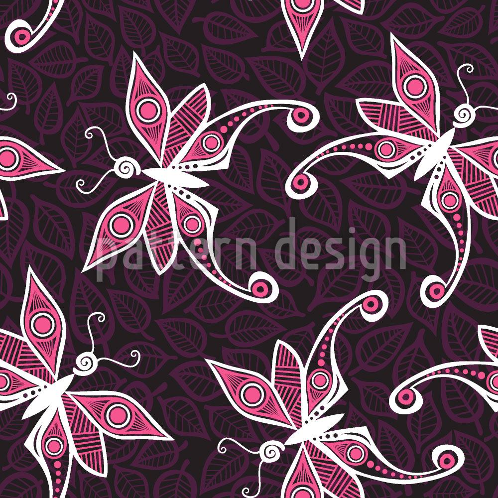 Papier peint design Butterflies On Leaves