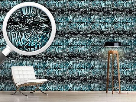 Pattern Wallpaper Zebrafur Blue