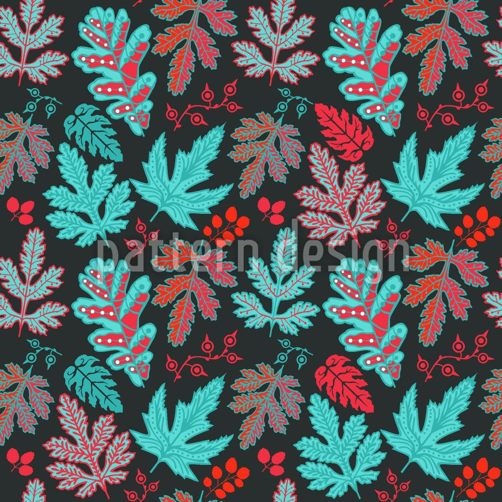 Pattern Wallpaper Leaf Baroque In Fire And Ice