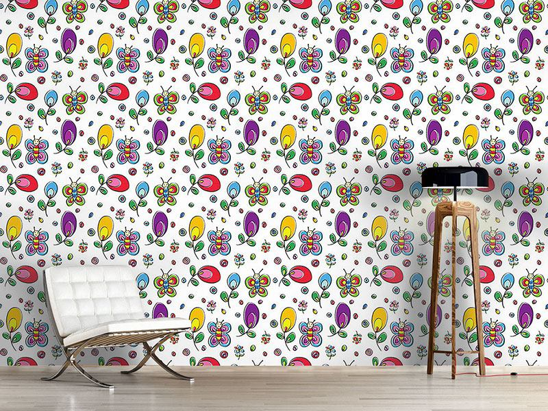 Papier peint design Butterflies In Floral Bliss