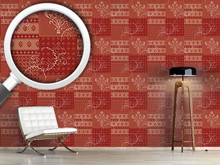 Pattern Wallpaper Symphony Floral Red