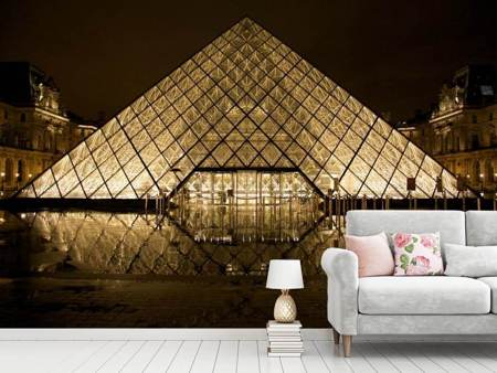 Photo Wallpaper At night at the Louvre