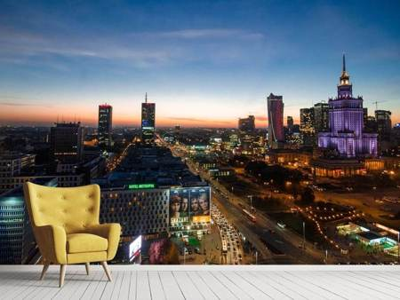 Photo Wallpaper The lights of Warsaw