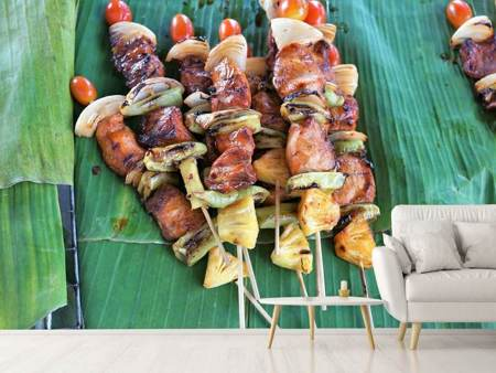 Photo Wallpaper Grilled meat kebab