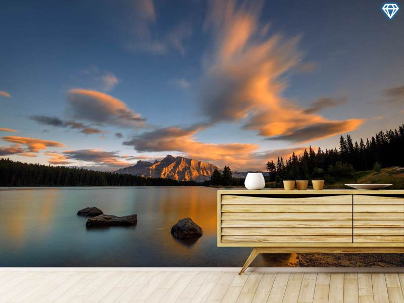 Photo Wallpaper Two Jack Lake Sunset