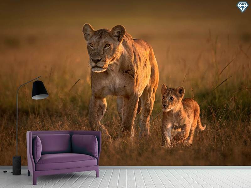 Fotomurale Mom Lioness With Cub