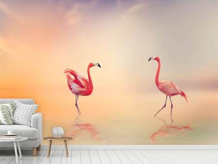 Photo Wallpaper Romantic Flamingos